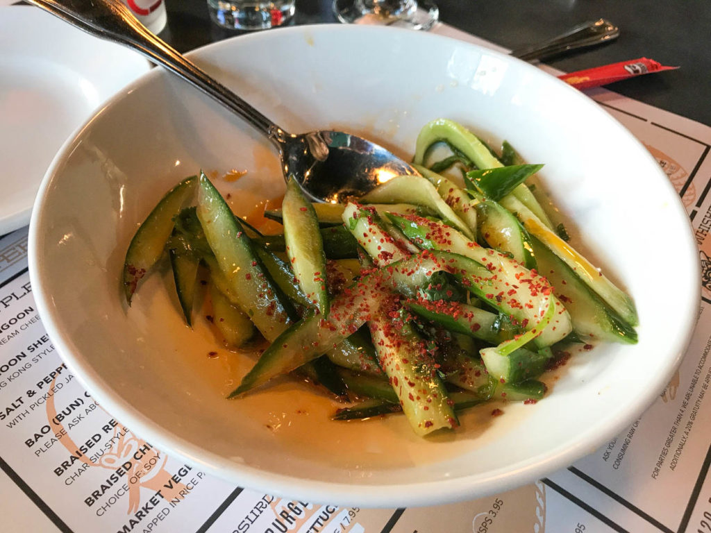 The Asian Cucumber Salad from the Peterboro in Midtown Detroit, MI is a light, bright way to start off your meal. Vinegar and jalapeno are joined with fresh cucumber for a delicious salad. Find the full post at www.thebite2night.com