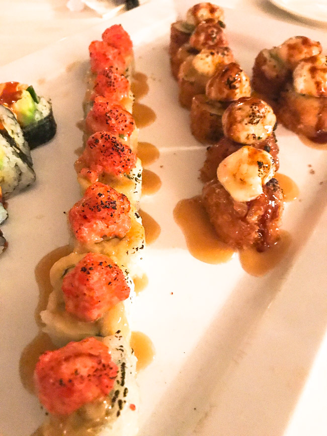 The Red Tornado roll from Shiro Restaurant in Novi, MI includes krab tempura, avocado, cucumber, topped with spicy shrimp and crab salad, flame torched and drizzeld with a sweet, honey cream sauce. The combo of sweet and spicy is excellent! Find the full post at www.thebite2night.com