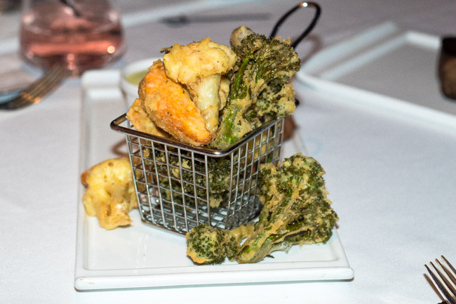 The Frito Misto from Iridescence in Motor City Casino in Detroit, MI features lightly battered cauliflower, shitake mushroom, sweet potato, and broccoli. Find the full post at www.thebite2night.com
