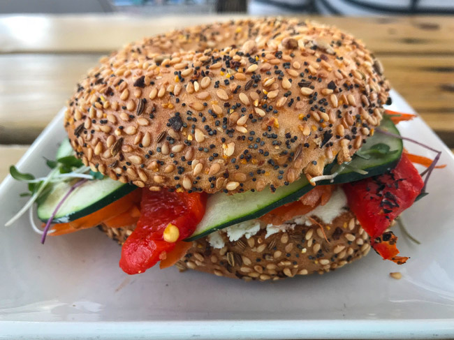 Check out the Everything Bagel Sandwich with fresh veggies from Cultivate Coffee & Tap House in Ypsilanti, MI. Read the full post at www.thebite2night.com