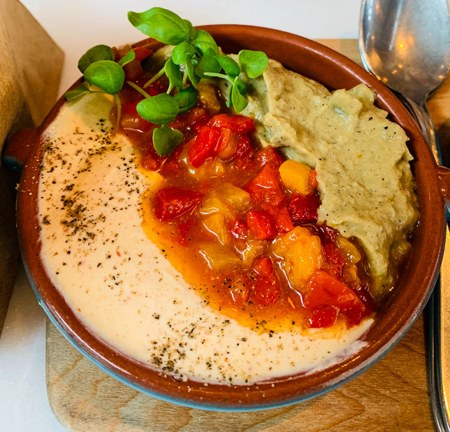 Roasted Eggplant Dip from San Morello inside the Shinola Hotel in Downtown Detroit, MI was delicious! Served with a spiced yogurt and sweet pepperonata, the smokey eggplant was perfect. Find the full review on the blog at www.thebite2night.com
