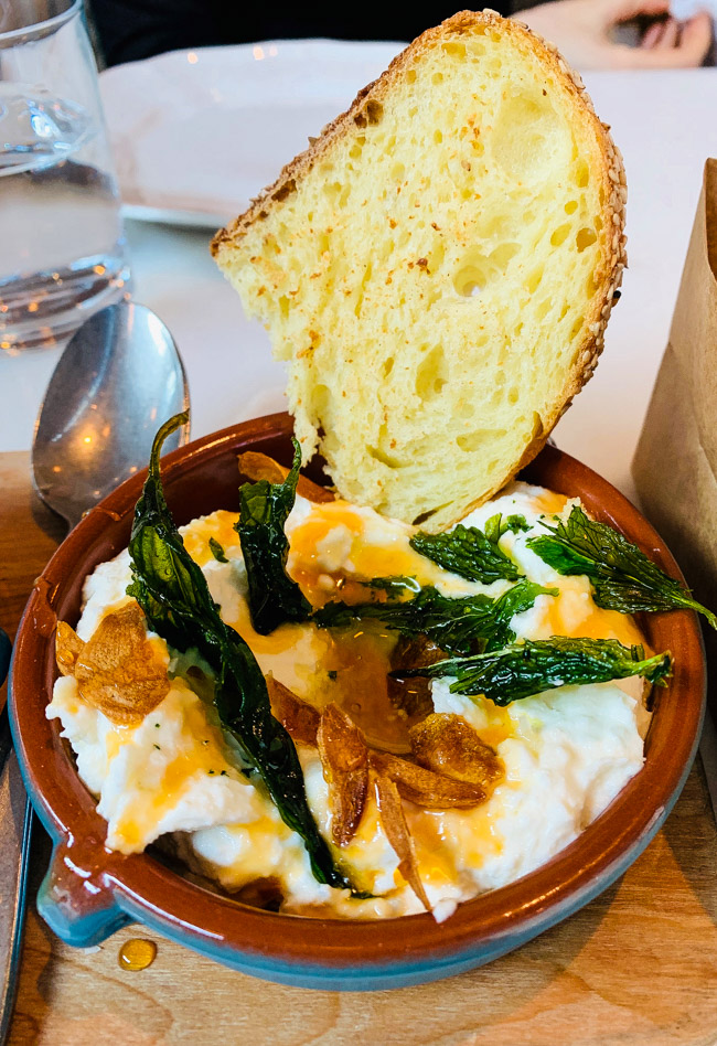 The Sheep's Milk Ricotta Dip is hands down one of the best things on San Morello's menu. Creamy, fresh ricotta with hot honey, and garlic chips. Visit my blog for the full review at www.thebite2night.com